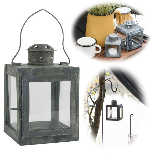 Vintage Laterne Windlicht 15cm Metall Grau Teelicht Stumpenkerze