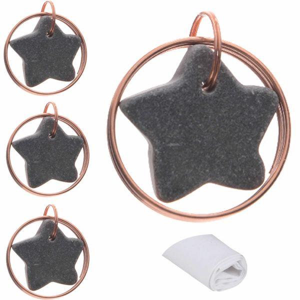 4x Servietten-Ringe Stern Kupfer Grau Gold Servietten-Halter Hochzeits-Deko