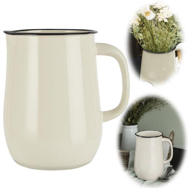 IB Laursen Vintage Emaille Wasserkrug 2.5 Liter Kanne Butter Cream