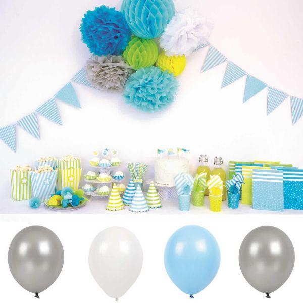 JaBaDaBaDo 9 Luftballon Silber Grau Blau Luftballons Geburtstag Party B2001