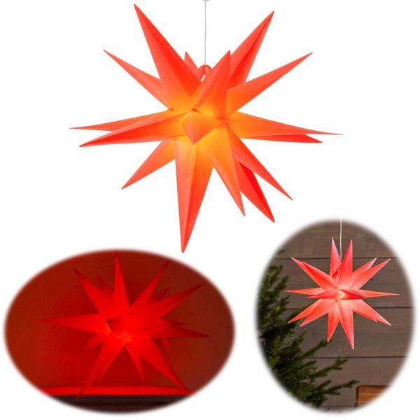 3D Außen Leuchtstern Ø 30cm Rot 2 LED Timer Beleuchtet Weihnachtsstern