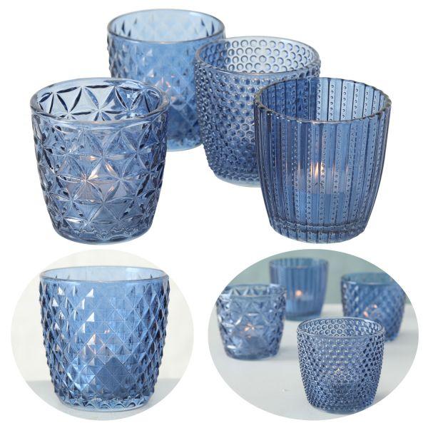 4´er Set Glas Teelichthalter Retro Blau 7cm Teelichtglas Windlicht-Halter