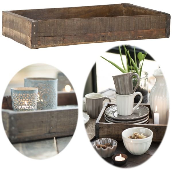 Holz Servier-Tablett Unika 43x26x6cm Aufbewahrung-Box Dekoration