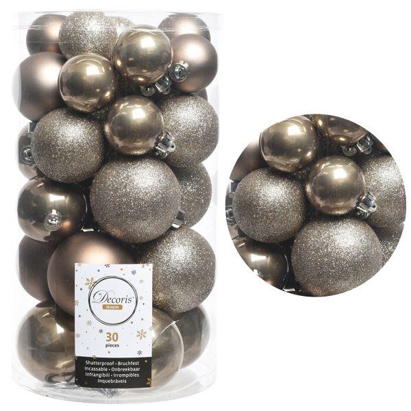 30 Kunststoff Weihnachtskugeln Kaschmir-Braun 4cm-6cm Baumkugel Dekokugel