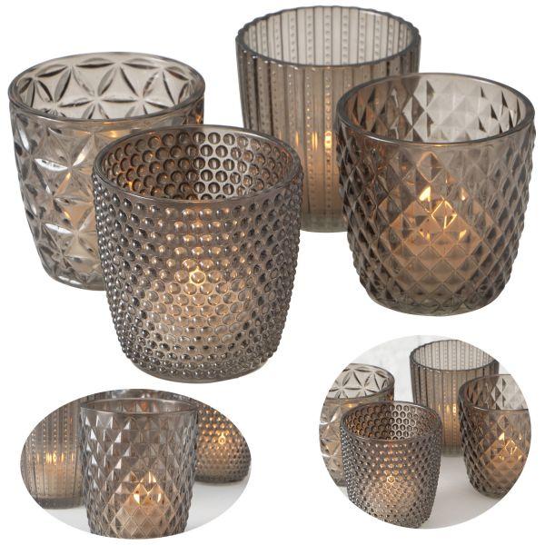 4´er Set Glas Teelichthalter Retro Grau 7cm Teelichtglas Windlicht-Halter