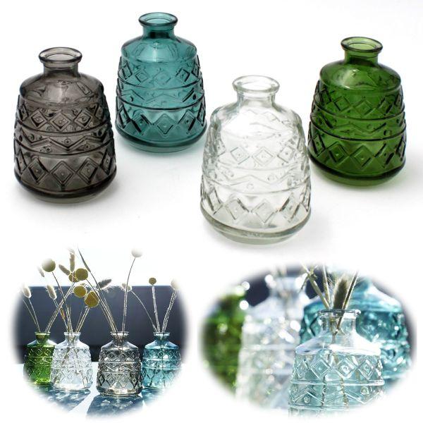 4x Retro Glas-Vase 11cm Multi Colour Set Deko Tisch-Vase Blumenvase Väschen