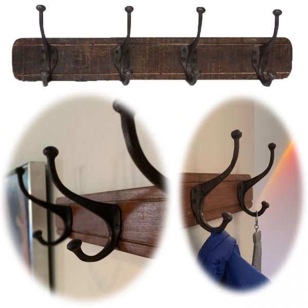 Vintage Wand-Garderobe 60cm Teak Holz 4/8 Haken Braun Garderoben-Leiste