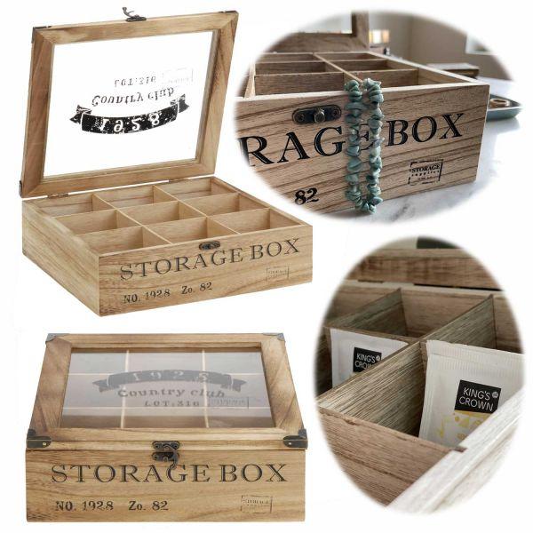 Holz Aufbewahrungsbox Teebox 9 Fächer Schmuckkiste Teekiste Teekasten