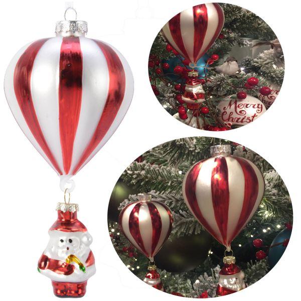 Glas Weihnachtskugel Weihnachtsmann Ballon Rot Weiß 16cm Deko Kugel