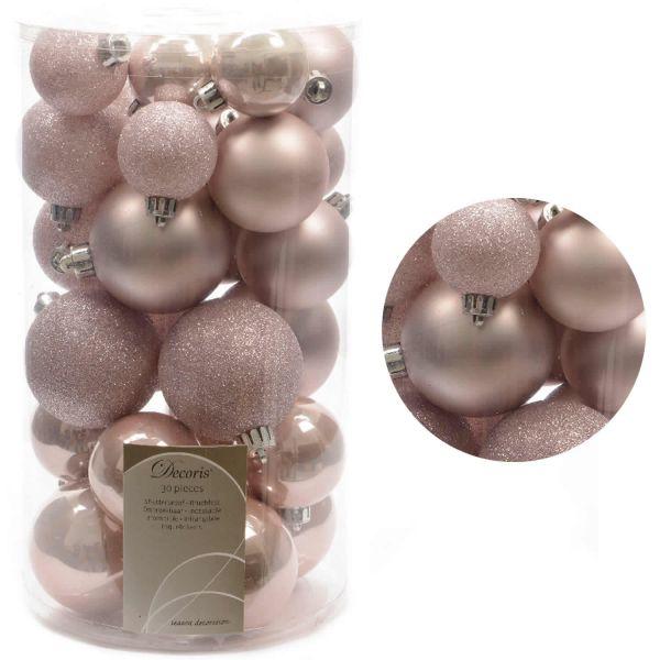 30 Kunststoff Weihnachtskugeln Rosa Lachs 4cm-6cm Baumkugel Dekokugel