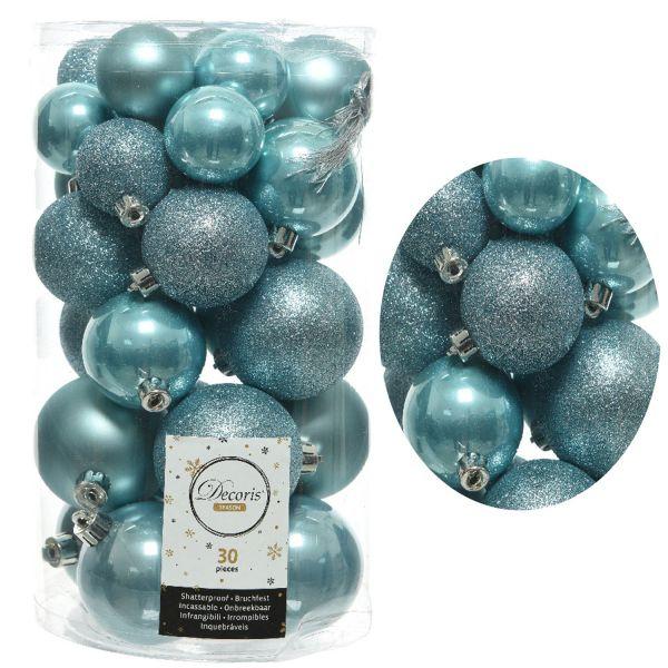 30 Kunststoff Weihnachtskugeln Arktik Blau 4cm-6cm Baumkugel Dekokugel