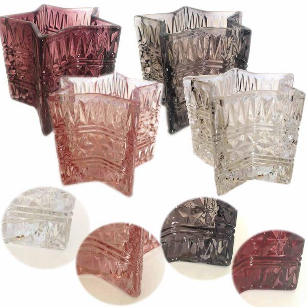 Design 4x Glas Teelichthalter Windlicht Set Teelicht Teelichtgläser Stern