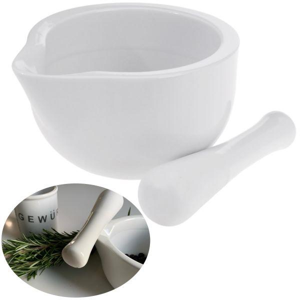 Keramik Mörser Stößel Set Weiß Ø 10cm Gewürzmörser Zerkleinerer