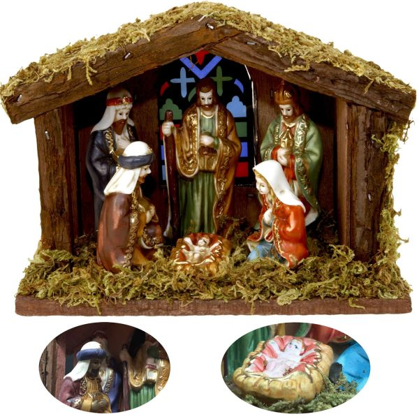 Holz Krippenszene 6 Figuren LED 20cm Krippenstall Weihnachtskrippe