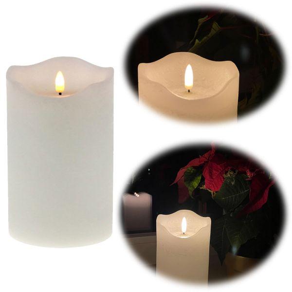 LED 3D Stumpenkerze Creme Weiß 15cm Echtwachs flackernde flammenlose Kerze
