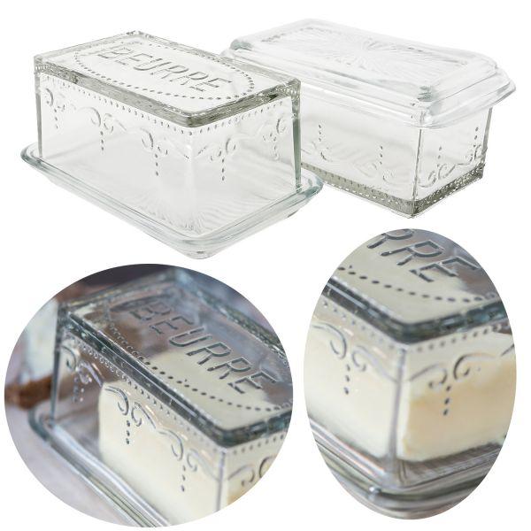 Vintage Glas Butterdose 10x16cm 2tlg. Deckel Beurre Butterglocke Butterschale