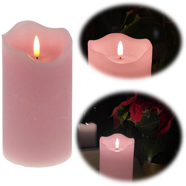 LED 3D Stumpenkerze Rosa 20cm Echtwachs flackernde flammenlose Kerze