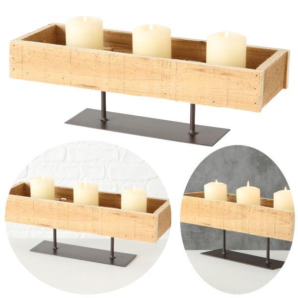 Holz Aufbewahrung-Box stehend 40x13x13cm Tablett 1-Fach Dekoration