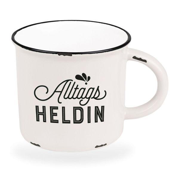 Kaffeebecher 470ml Vintage Alltags-Heldin Weiß Emaille-Look Kaffeetasse
