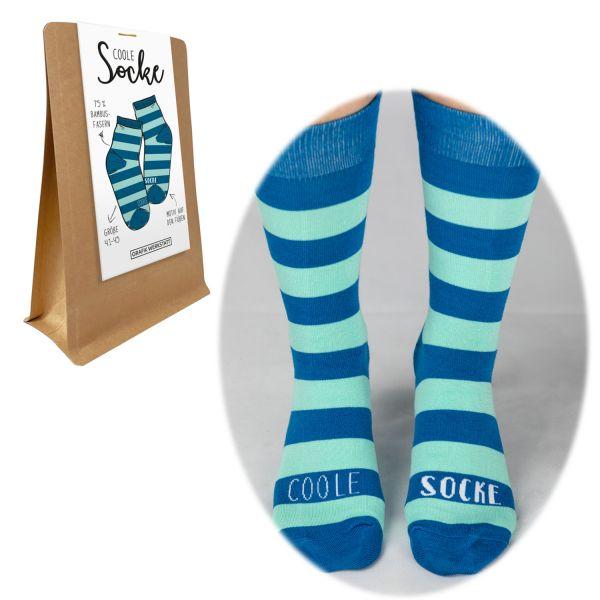 Coole Herren Socke Bambusfaser Gr. 41-45 Spruch Coole Socke Blau