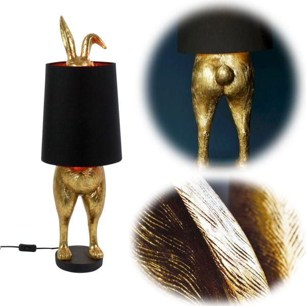 Tischleuchte Golden Rabbit Hase Gold 74cm E27 Standleuchte Standlampe