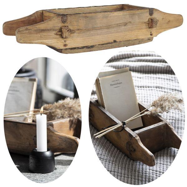 Holz Ziegelform Unika 45x15x9cm 4 Griffe Aufbewahrung-Box Deko-Kiste