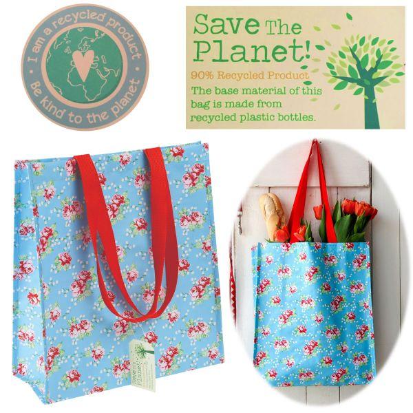 Shopper Einkaufstasche Vintage Rose Recycled Strandtasche Schultertasche