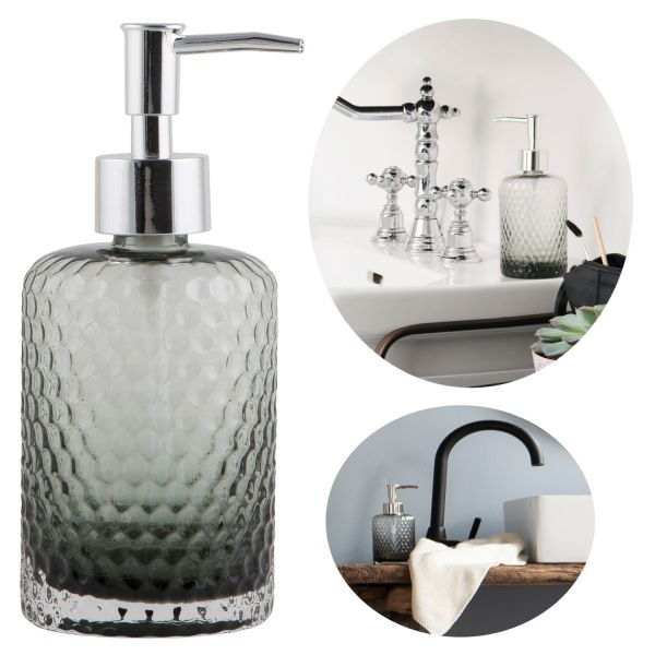 Glas Seifenspender 500ml Silber Grau 18cm Dispenser Seifenpumpe