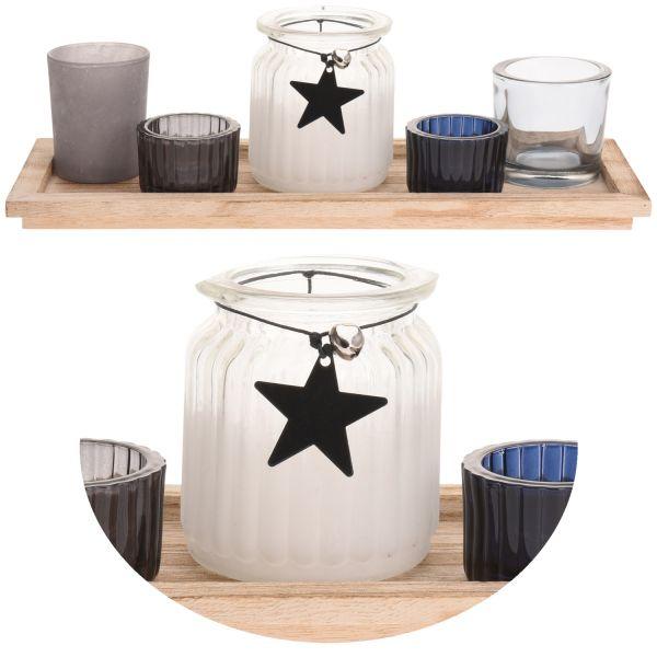 Holz Kerzentablett Teelichthalter-Set 33cm Deko-Tablett Windlichter Glas