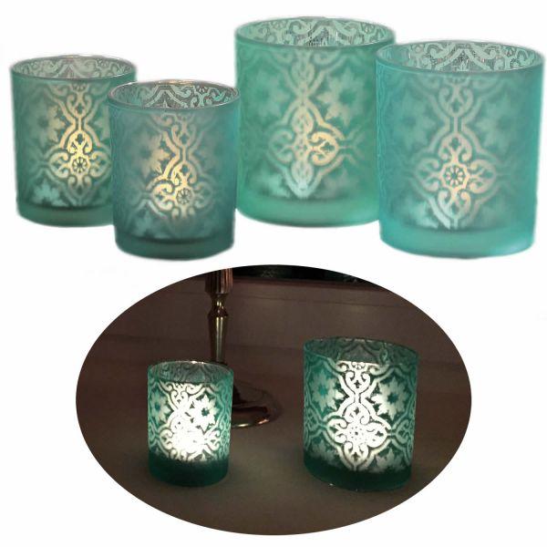 2x Glas Teelichthalter Set Blau Türkis Teelichtglas Windlicht-Halter
