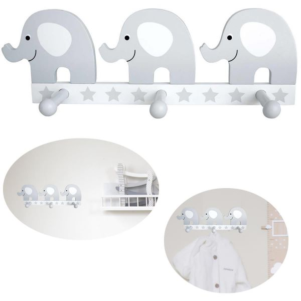 JaBaDaBaDo 3 Holz Kinder Garderobe Elefant Grau R16021 Kleiderhaken