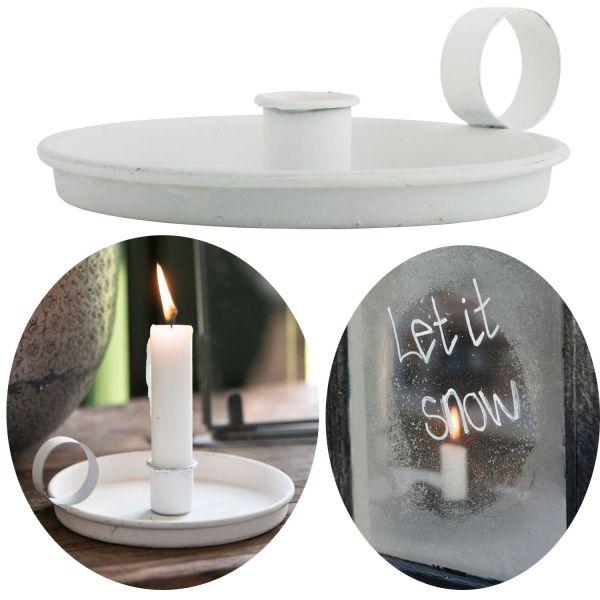 Metall Stabkerzen-Halter Weiß Rund 13cm Kerzenständer Kammer-Leuchter