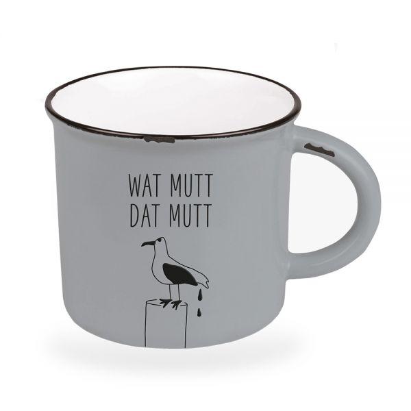 Kaffeebecher 470ml Vintage Wat Mutt Dat Mutt Emaille-Look Kaffeetasse