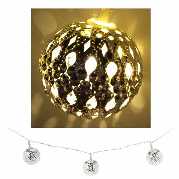 LED Lichterkette 10 Lampen Kugel Silber WarmWeiß Deko Vintage