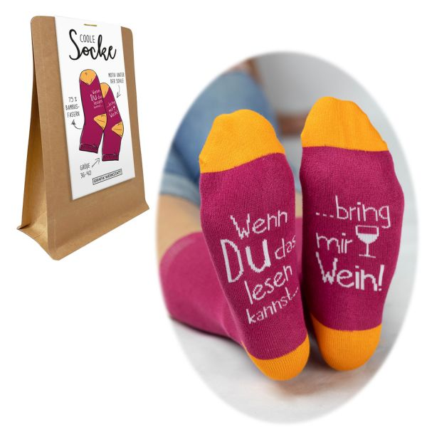 Coole Damen Socke Bambusfaser Gr. 36-40 Spruch bring mir Wein Rot