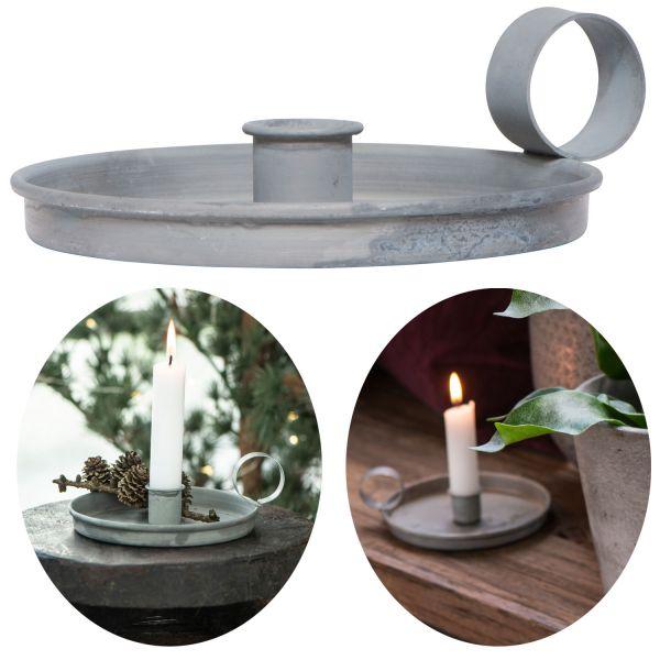 Metall Stabkerzen-Halter Grau Henkel 13cm Kerzenständer Kammer-Leuchter