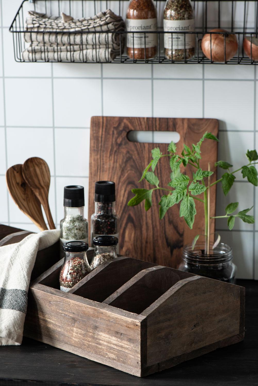 Holz Aufbewahrungsbox 6 Fächer Braun 53cm Kiste Organizer Küche
