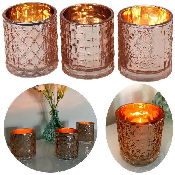 3x Glas Teelichthalter Set Rose Kupfer Teelichtglas Windlicht-Halter