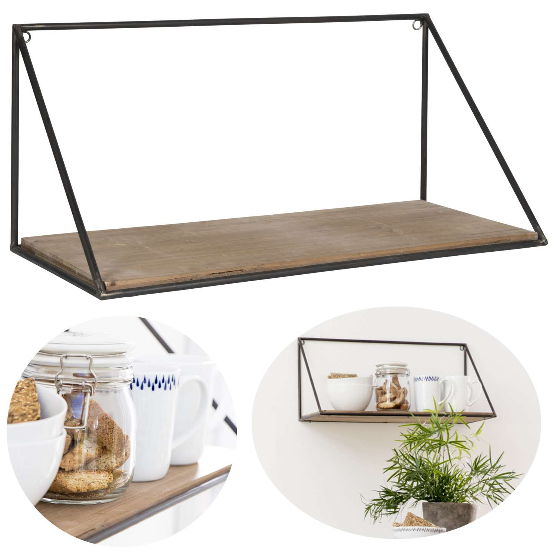 Wandregal Küchenregal Holz Metall 55x25cm Hängeregal Bücherregal