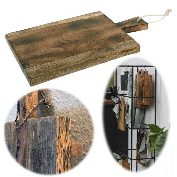 XL Mango Schneidebrett Echt-Holz 44cm Vesperbrett Schneidbrett Deko-Tablett