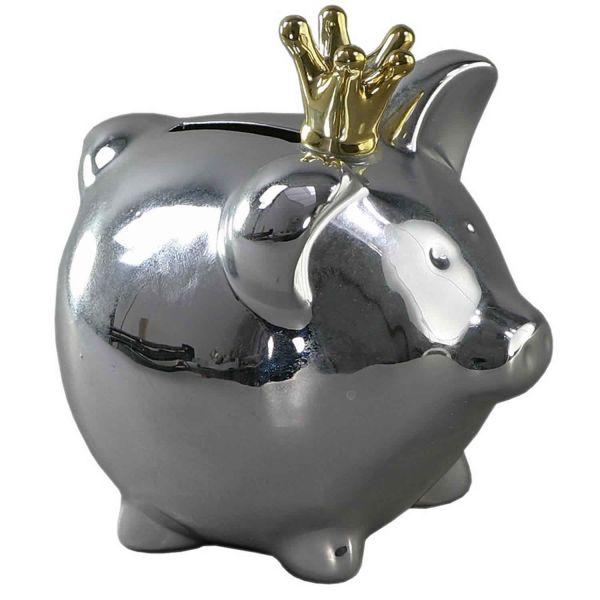 Spar-Schwein Keramik Silber Krone Gold 13cm Deko Spardose Sparbüchse
