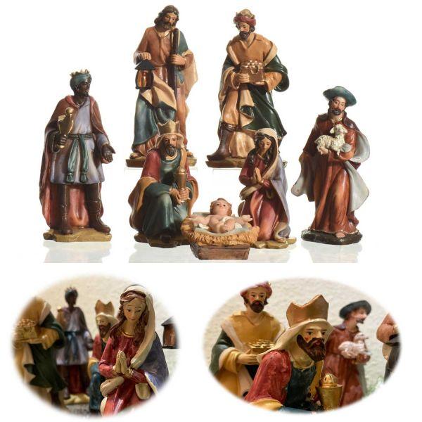 Exklusives Krippenset 7 Krippenfiguren 15cm Polyresin handbemalt Weihnachts-Deko