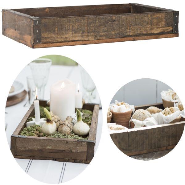 Holz Serviertablett Unika 41x24cm Braun Recycelt Deko Küchentablett