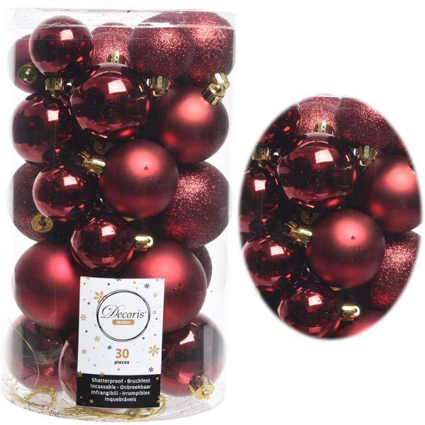 30 Kunststoff Weihnachtskugeln Rot 4cm-6cm Baumkugel Dekokugel