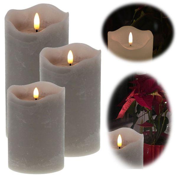 LED 3D Stumpenkerze Grau 3´er Set Echtwachs flackernde flammenlose Kerze