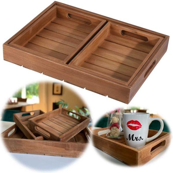 3x Teak Holz-Tablett Serviertablett Set Braun Deko-Tablett Bett-Tablett