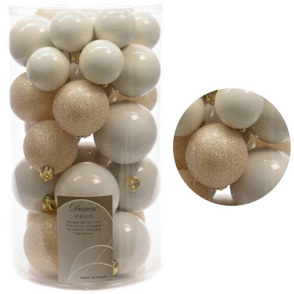 30 Kunststoff Weihnachtskugeln Woll-Weiß 4cm-6cm Baumkugel Dekokugel
