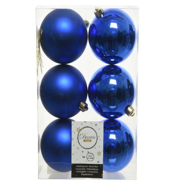 6 Design Weihnachtskugeln 8cm Blau Kunststoff Dekokugel Baumkugel