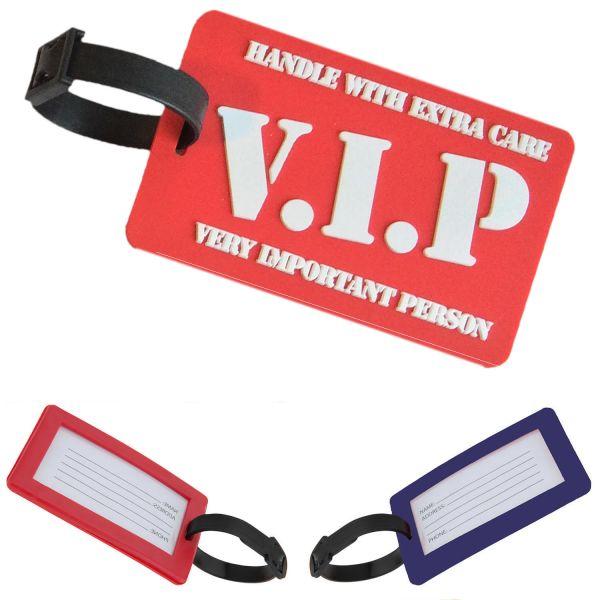3D XL Koffer-Anhänger Rot VIP 10,5cm Namensschild Gepäckanhänger