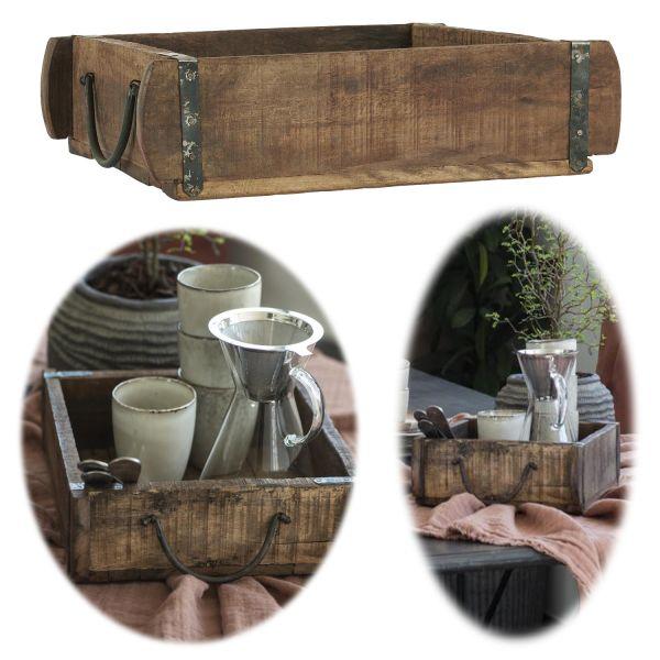 Holz Ziegelform Unika 30x25x8cm Schublade alte Backsteinform Cutlery Deko